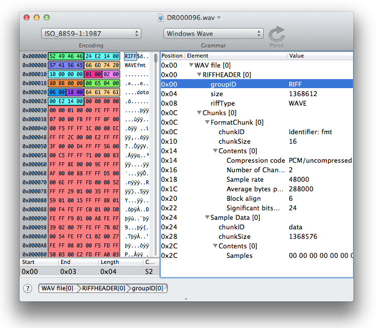 Hex editor with grammar applied for WAV audio files